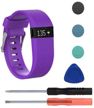 Fitbit EEEKit Replacement Premium Silicone Wristband Strap with Metal Buckle Clasp for Charge HR Fitness Tracker, Including Screwdriver Tools Kit