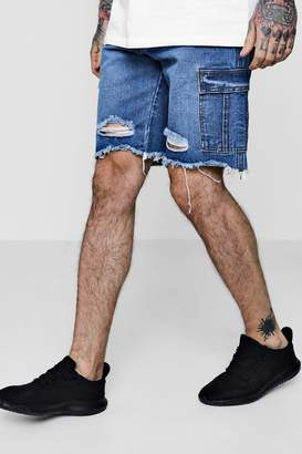 boohoo Bermuda Denim Shorts with Cargo Pockets