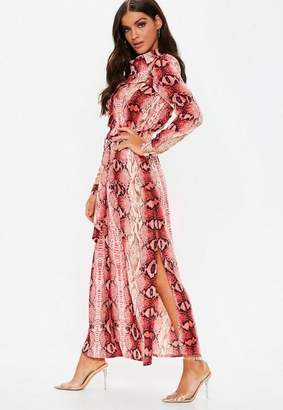 Missguided Pink Snake Button Through Maxi Shirt Dress
