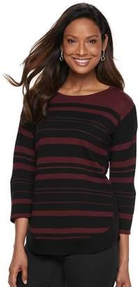 Croft & Barrow Women's Pintuck Curved Hem Sweater