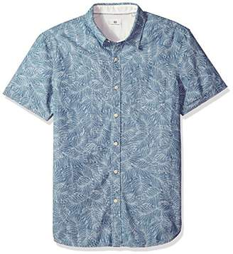 AG Adriano Goldschmied Men's Pearson Short Sleeve Chambray Print Button Down Shirt