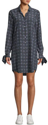 Equipment Manning Button-Front Long-Sleeve Floral-Print Plaid Shirtdress