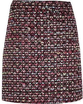 River Island Girls Pink and black boucle skirt