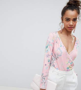 Asos Design Petite Daywear Wrap Body In Floral Print
