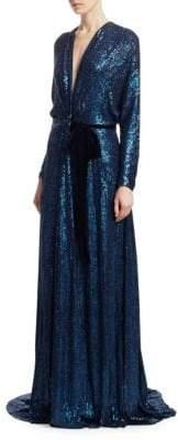 Jenny Packham Knot Bodice V-Neck Gown