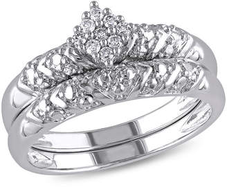 MODERN BRIDE 1/10 CT. T.W. Diamond Sterling Silver Art Deco Style Bridal Set