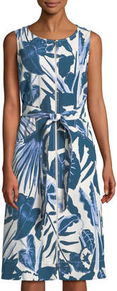 Lafayette 148 New York Karizza Floral Zip-Front Midi Dress