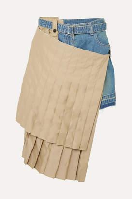 Sacai Layered Denim And Cotton-blend Shorts - Blue