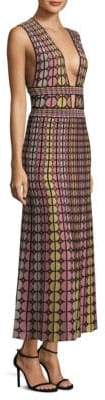 M Missoni Knitted Round Deep V-Neck Maxi Dress