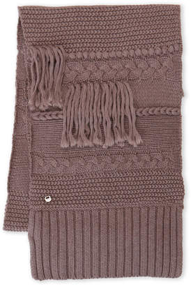 UGG Cable Knit Fringe Scarf