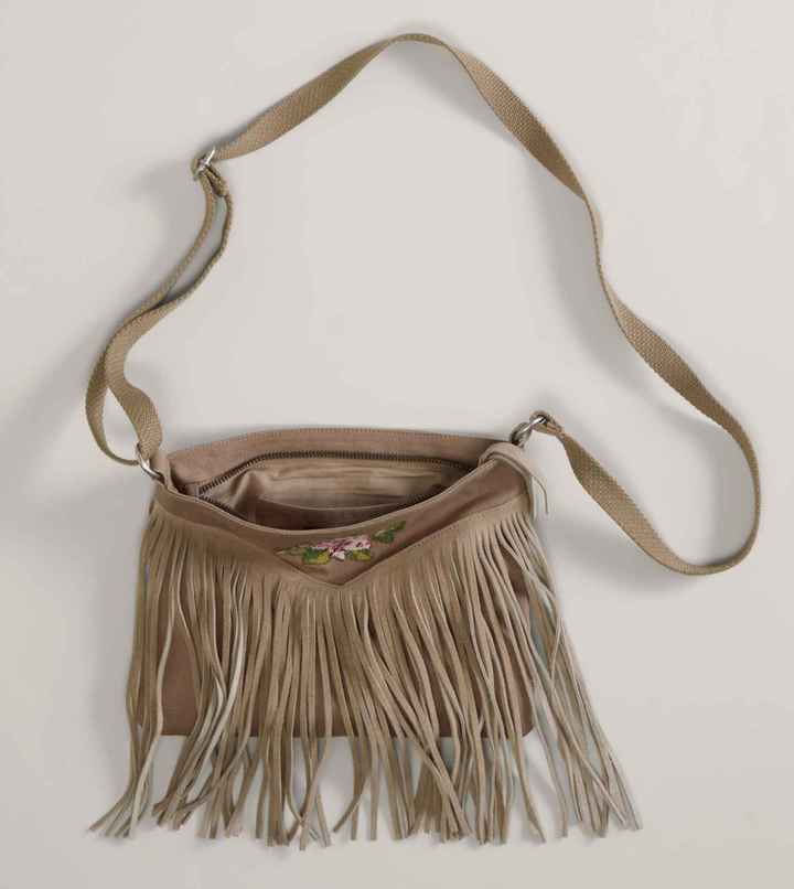 American Eagle AEO Embroidered Fringe Bag