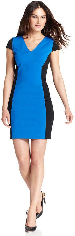MICHAEL Michael Kors Dress, Cap-Sleeve Colorblock Ponte-Knit Sheath
