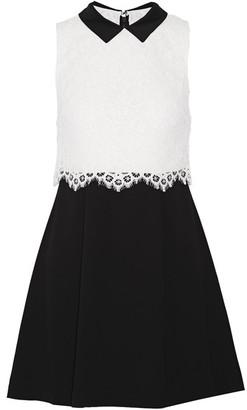 Alice + Olivia - Desra Corded Lace And Crepe Mini Dress - Black $370 thestylecure.com