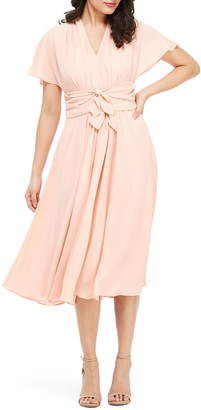 Gal Meets Glam Jane Tie Waist Midi Dress
