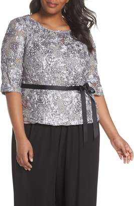 Alex Evenings Rosette Lace Blouse