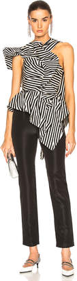 Self-Portrait Self Portrait Asymmetric Stripe Ruffle Jumpsuit in Black & White | FWRD