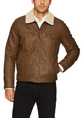 Levi's Men's Buffed Cow Faux Leather Sherpa Trucker
