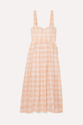 Alice McCall Pink Moon Buckled Gingham Cotton-blend Midi Dress - Blush
