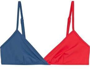 Solid & Striped The Brigitte Two-tone Triangle Bikini Top