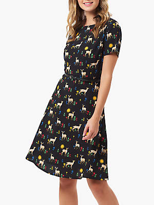 Sugarhill Brighton Ohara Fawn Print Dress, Black/Multi