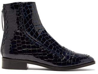 ALEXACHUNG Tour Crocodile Effect Leather Boots - Womens - Navy
