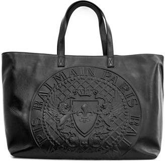 Balmain Black Handbag In Shiny Smooth Calf Leather.