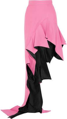 Ronald Van Der Kemp - Asymmetric Ruffled Wool-blend Maxi Skirt - Pink