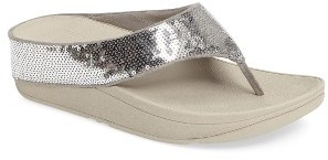 Women's Fitflop Ringer Sequined Wedge Flip Flop $69.95 thestylecure.com
