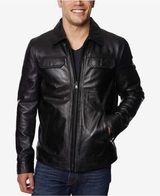 Perry Ellis Men's Full-Zip Leather Jacket