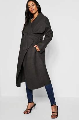 boohoo Maternity Wool Look Wrap Front Coat