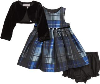 Pippa & Julie Plaid Dress & Velvet Jacket Set