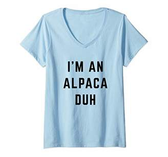 Womens I'm an Alpaca Duh Easy Halloween Costume V-Neck T-Shirt