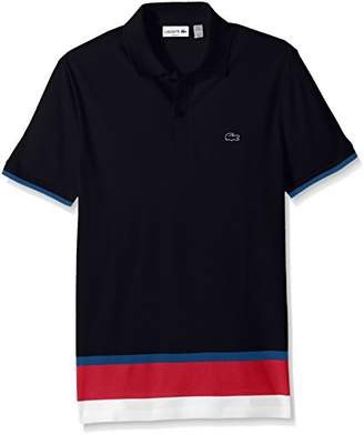 Lacoste Men's Short Sleeve Engineered Stripe Botton Pique Slim Polo