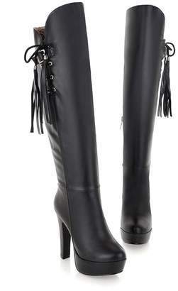 Susanny Women's Winter Boots Outdoor Chic Soft Leather Tassels Over The Knee Platform High Heel Boots with Side Zipper 8 B (M) US