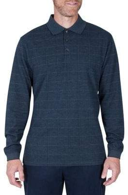 Haggar Plaid Print Jacquard Polo