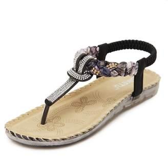 4264cda008d7 Zarbrina Women s Flat Sandals Fashion Rhinestones Bohemian Prime Thong Shoes  Beads Beach Soft Sole Wear