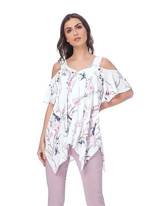 541583b2c77077 Roman Originals Roman Cold Shoulder Floral Hanky Hem Top