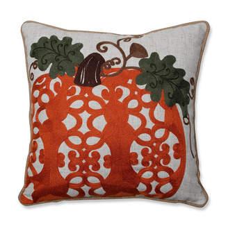 "Pillow Perfect Fancy Embroidered Pumpkin Orange 16"" Throw Pillow"