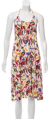 Nieves Lavi Printed Halter Midi Dress
