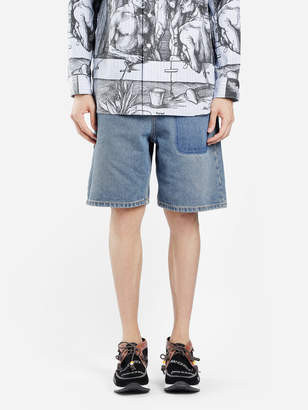 J.W.Anderson MEN'S BLUE WASHED SHADED POCKET DENIM SHORTS