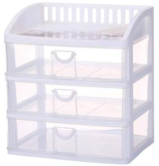 clear Magshion Large 3 Drawer Plastic Storage Drawer Rack Container Bin Desktop Unit