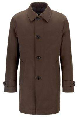 BOSS Water-repellent overcoat in twill with quilted lining