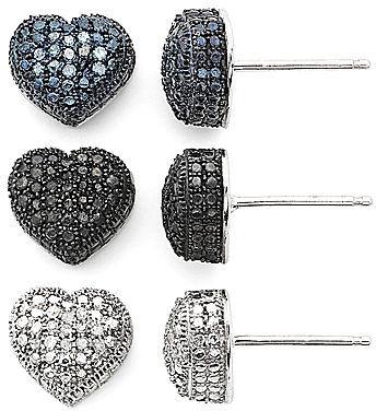 JCPenney FINE JEWELRY 1/4 CT. T.W. Diamond Hearts 3-pr. Earring Set