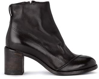 Moma Bufalo Dark Brown Leather Ankle Boots
