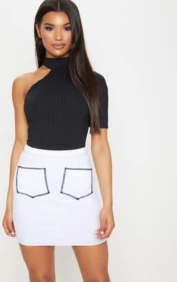 PrettyLittleThing White Contrast Stitch Pocket Front Mini Skirt