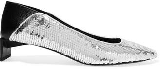 Loewe Leather-paneled Sequined Canvas Collapsible-heel Pumps - Silver