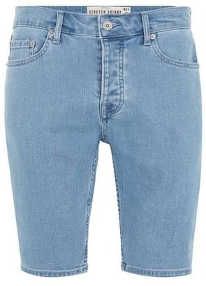 Topman Mens Blue Bleach Stretch Skinny Denim Shorts