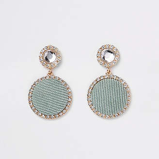 River Island Light green gold tone circle drop earrings