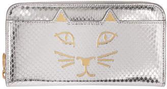 Charlotte Olympia Silver Snake Feline Zip Wallet