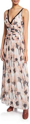 Jason Wu V-Neck Sleeveless Watercolor Poppy-Print Maxi Dress
